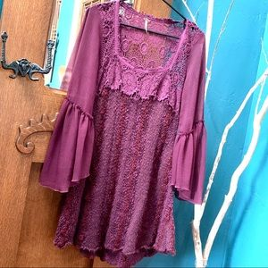 FREE PEOPLE Gorgeous Boho Dress with Bell Sleeves